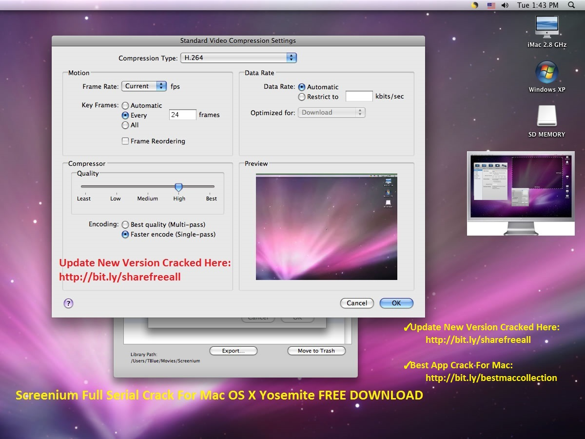 Screenium 2.1.8 Serial Crack For Mac OS X FREE DOWNLOAD