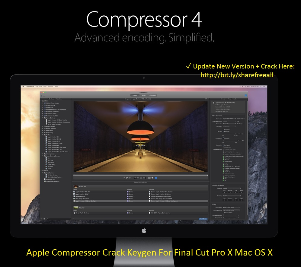 Apple Compressor 4.2.1 Crack Keygen For Final Cut Pro X Mac OS X Free Download