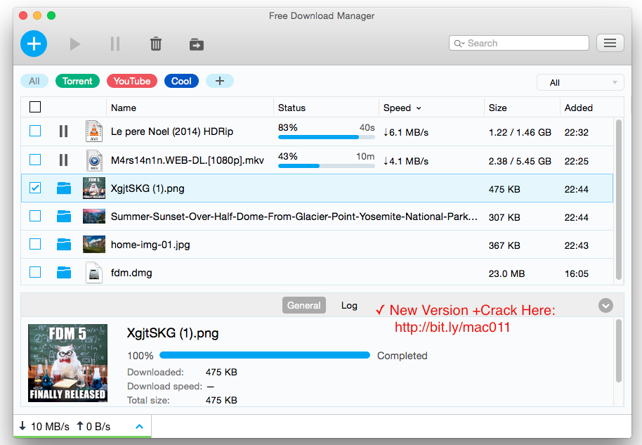 FDM-Free Download Manager 5.1 For Mac OS X