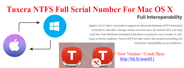Tuxera NTFS 2016 RC Serial Number Crack For Mac OS X Free Download