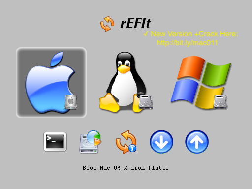 rEFIt 0.1.4 For Mac OS X - choose a startup disk Bootcamp or Mac